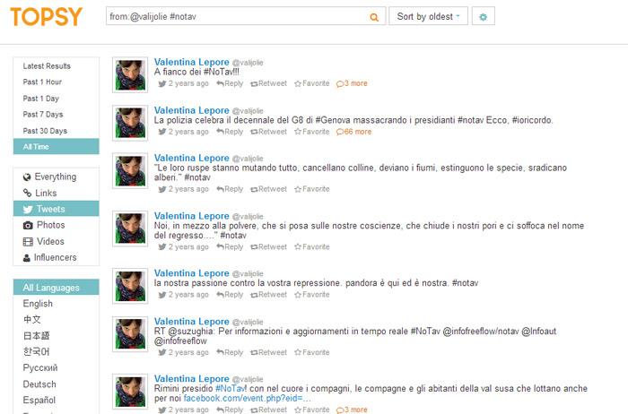 Trovare tweet argomento utente