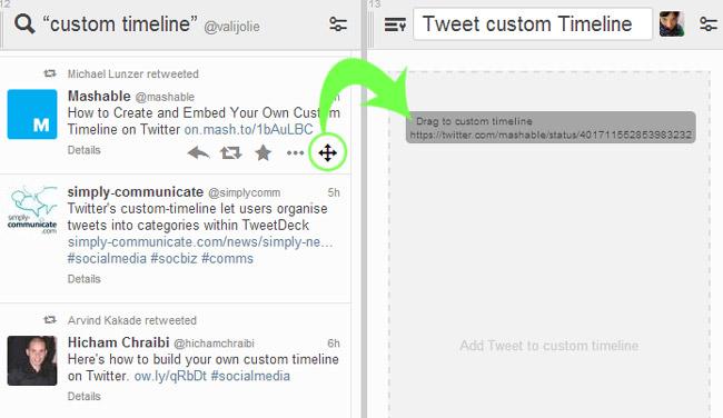 inserire tweet custom timeline