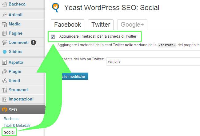 Configurare WP SEO Yoast Twitter